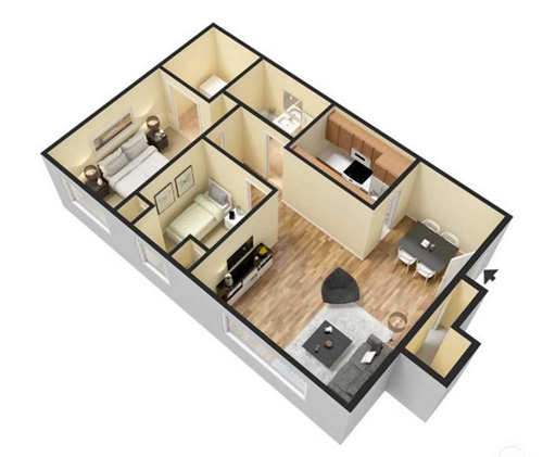 two bedroom apartment - 816 sqft