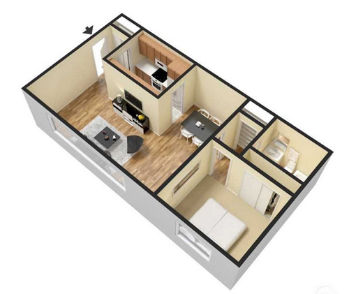 one bedroom apartment - 710 sq ft